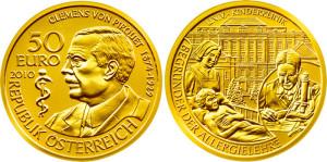 Austria-2010-50-euro-Clemens-von-Pirquet-Gold-Proof-Coin