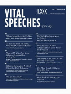 Cover of Vital Speeches with Henry Ehrlich sandwiched between Pres. Obama and NY Mayor Bill DeBlasio